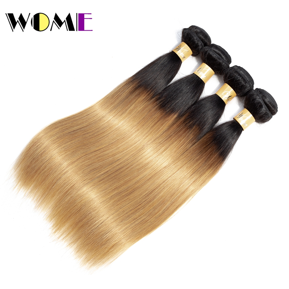 Hair Extensions & Wigs Wome Human Hair Straight Ombre Hair Bundles T1b/27 Malaysian Weave 100% Non Remy Hair Extensions 4pcs/lot Two-tone Color