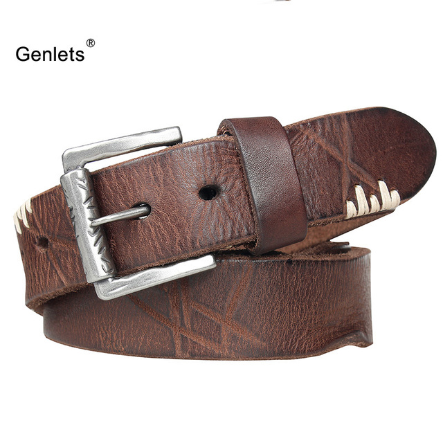 a9dcecfbe42a5 luxury genuine leather belt men vintage buckle men's belt handmade jeans  strap good quality cow skin young multi color