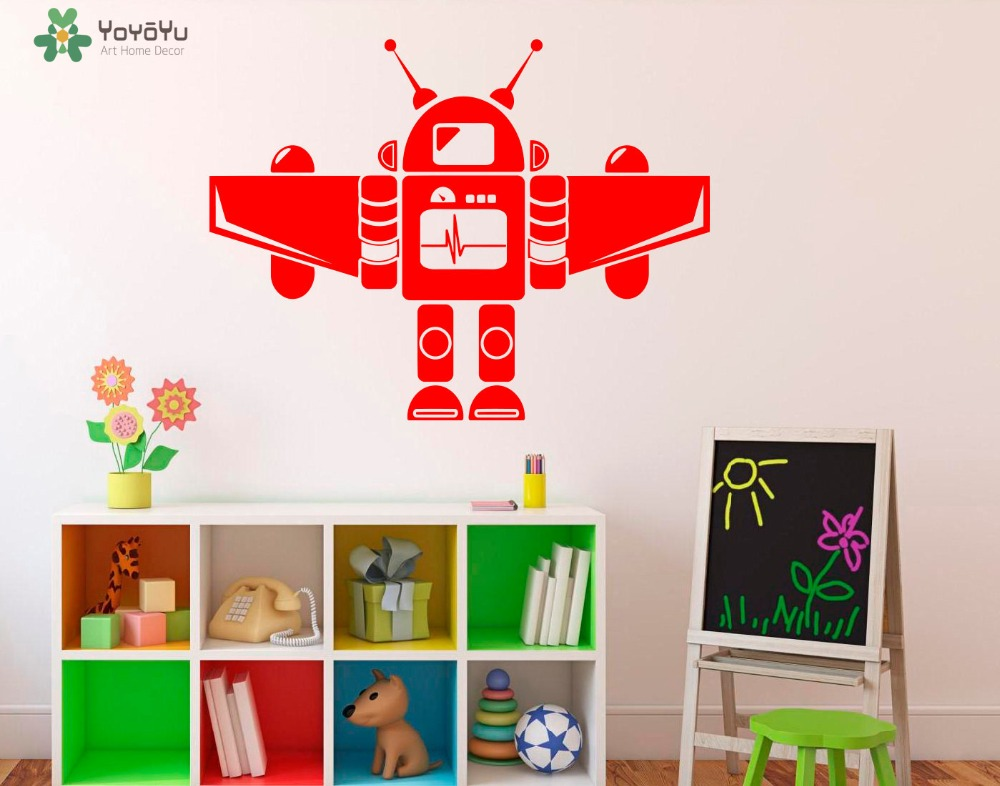 Cartoon wall sticker for kids rooms robot pattern wall - Childrens bedroom wall stickers removable ...
