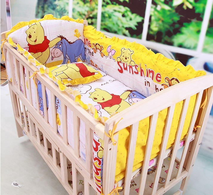 Newborn Girl and Boy bedding set Cartoon Kids Crib Bed Sheets 100% Cotton Baby Bedclothes Include Pillow Bumpers Mattress