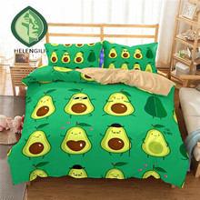 HELENGILI 3D Bedding Set Fruit Avocado Print Duvet Cover Set Lifelike Bedclothes with Pillowcase Bed Set Home Textiles #NYG-02 avocado print pillowcase