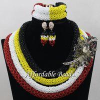 Редкие Свадебные комплект ювелирных изделий Популярные нигерийской свадьбы цепочки и ожерелья Best дизайн изделия ручной работы NCD096