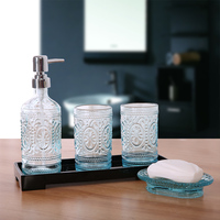 Glass Bathroom Accessory Set Toothbrush Holder Lotion Bottle 6PCS Creative Suite Bathroom Wash Acrylic Ware Home