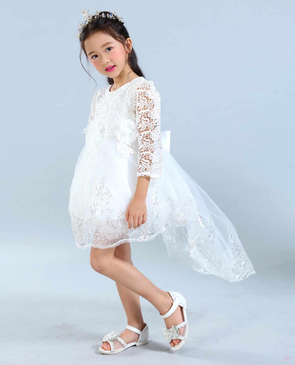 Коллекция 2018 года, осенний костюм принцессы для девочек Элегантное свадебное платье для девочек детское платье на выпускной, свадьбу, день рождения, с большим бантом, праздничное платье для девочек