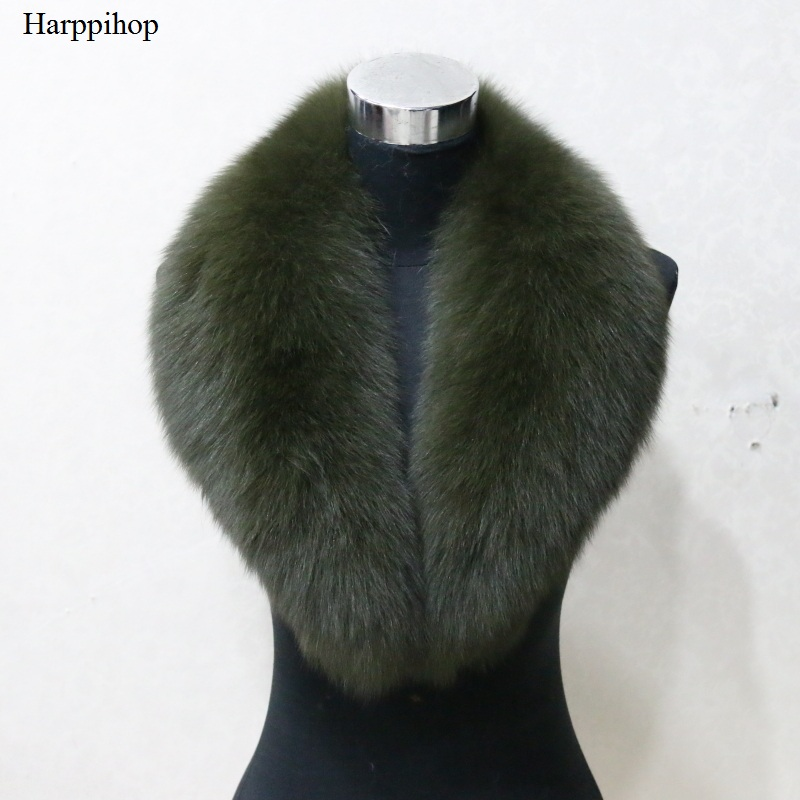 Harppihop Hot sale super large 4 colors fox Fur Collar for wool jacket clothing Natural fox