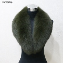 Harppihop Hot sale super large 4 colors fox Fur Collar for wool jacket clothing Natural fox fur Scarf big size Women scarf C902