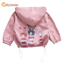 Babyinstar Cute Baby Girl Coat Spring Autumn Cartoon Rabbit Hooded Zipper Jacket for Toddler Clothe Outerwear & Coats