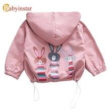 Babyinstar Cute Baby Girl Coat Spring Autumn Cartoon Rabbit Hooded Zipper