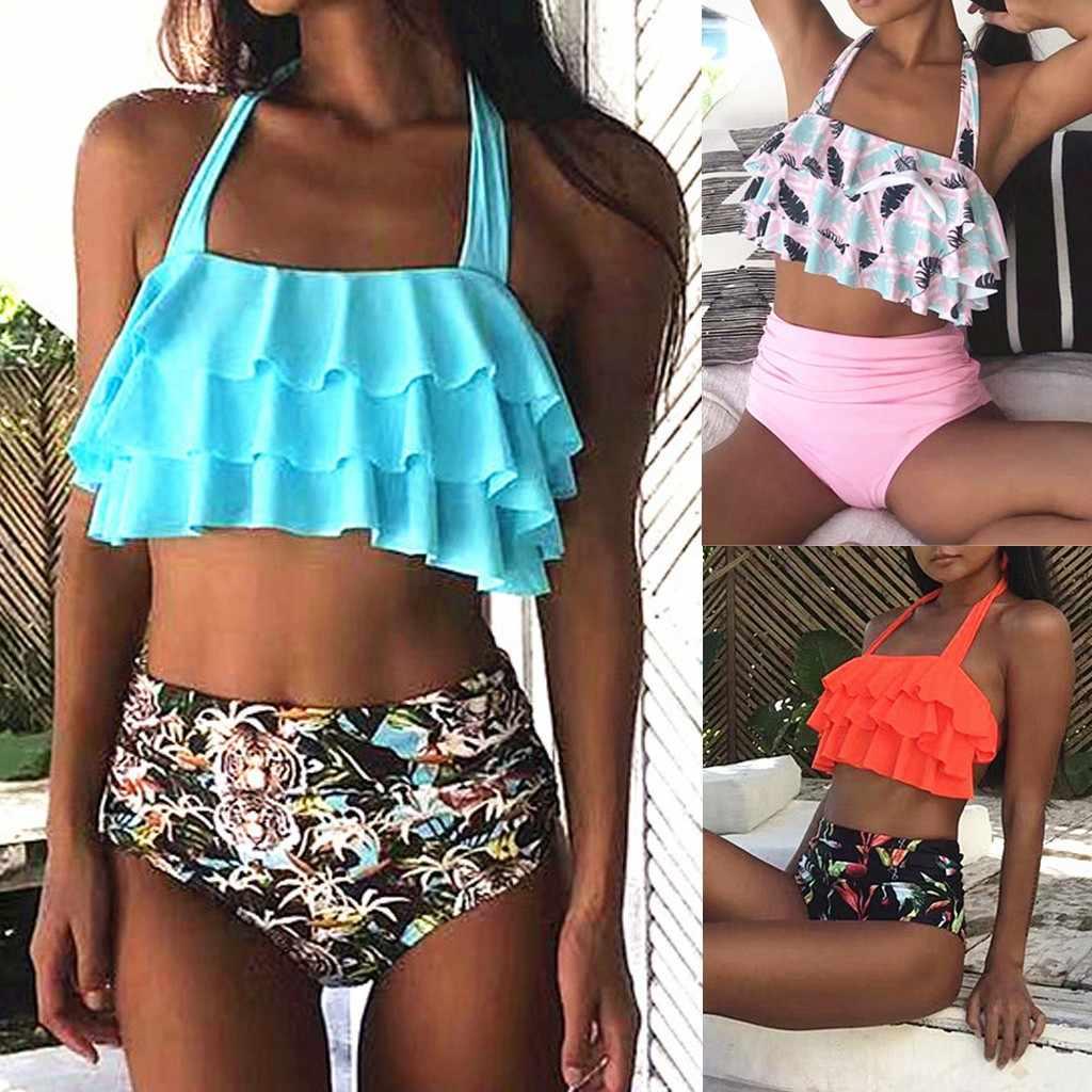389c64de8 Womail Retro Flounce Sling High Waist Print Bikini Halter Two Piece  Swimsuit bathing suit women high