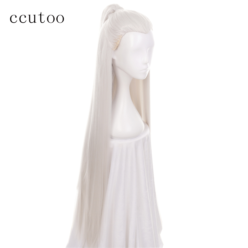 ccutoo Ancient Maple Beauty Tip 110cm Silver White Long Straight Synthetic Hair Widow's Peak Cosplay Full Wig With Chip Ponytail
