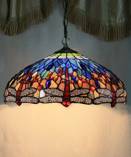 Best sell - 16 inch tiffany style stained glass gem lamps pendant lights dining room vintage use 2 led fixtures free shopping Broadway Lighting store