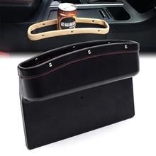 MAYITR PU Leather Car Seat Gap Slit Pocket Catcher Box Caddy Storage for Card Coin Receipt Organizer 3 Colors