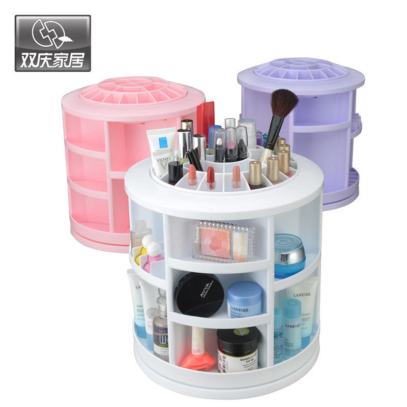 2016 Limited Plastic Cosmetic Storage Box 360 Degree Rotation Makeup Organizer Boxes Cosmetics Receive A Case Bins 360 degree rotation transparent makeup organizer case cosmetic brush storage holder box can freely change storey hight