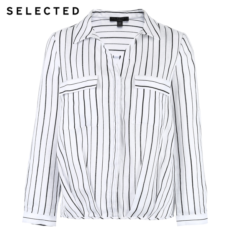 SELECTED Women's Roll-up Sleeves Striped Turn-down Collar Long-sleeved Shirt S|418205506 5