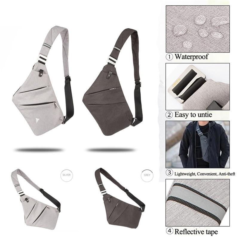 NoEnName 2019 Hot Men's Solid Chest Pack Bags Men Single Shoulder Bags Waterproof Nylon Crossbody Bags Anti-Theft Belt Packs