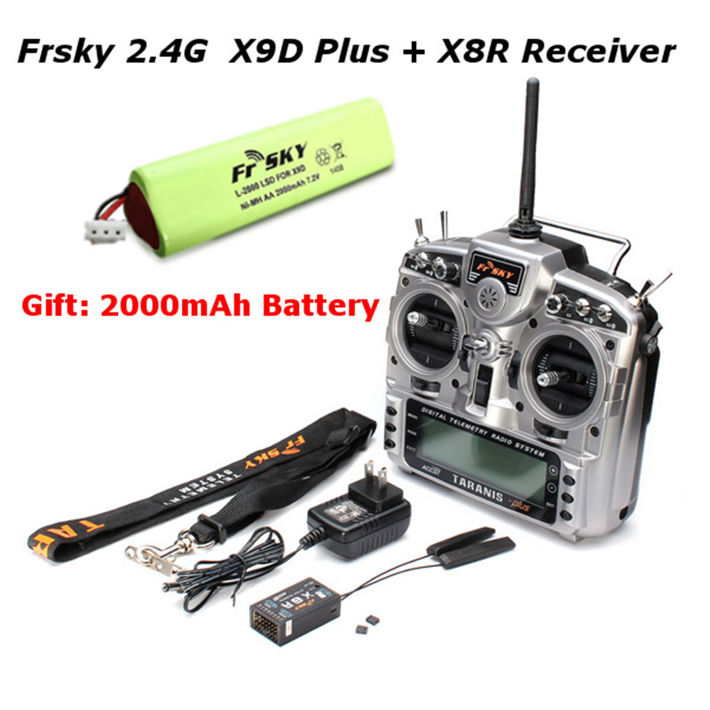 Free Shipping FrSky X9D Plus Transmitter 2.4G 16CH ACCST Taranis with x8r reciever battery For RC Models Multicopter Parts free shipping frsky 2 4ghz accst taranis x9d plus digital telemetry transmitter radio system set receiver x8r neck strap adapter