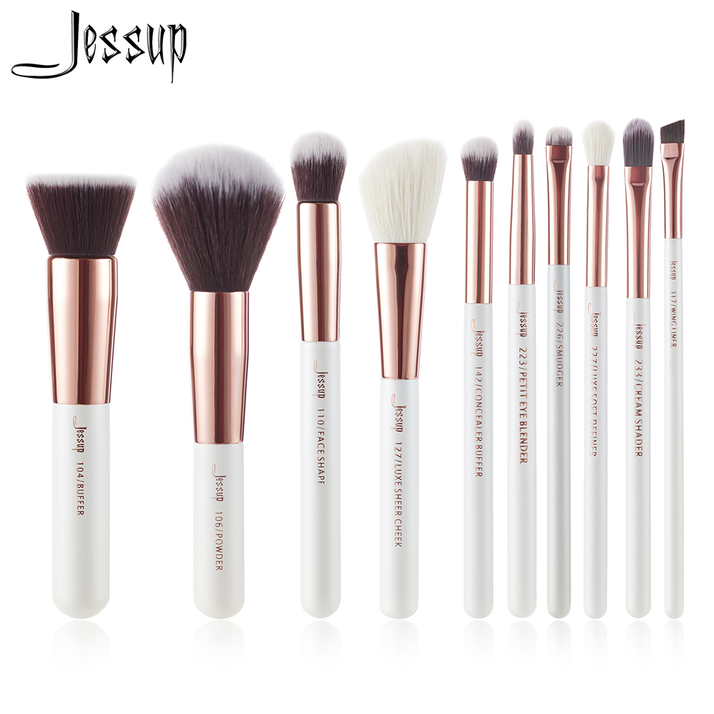 Jessup Brand Pearl White/ Rose Gold Makeup Brushes set professional Make up Brush Tool kit Foundation Powder Buffer Cheek Shader jessup brushes black rose gold professional makeup brushes set make up brush tools kit foundation powder buffer cheek shader