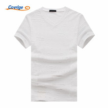 Covrlge 2018 New Summer T Shirt Men Plus Size Ripped Hole T-shirts Breathable Casual Tees High Quality Mens MTS468