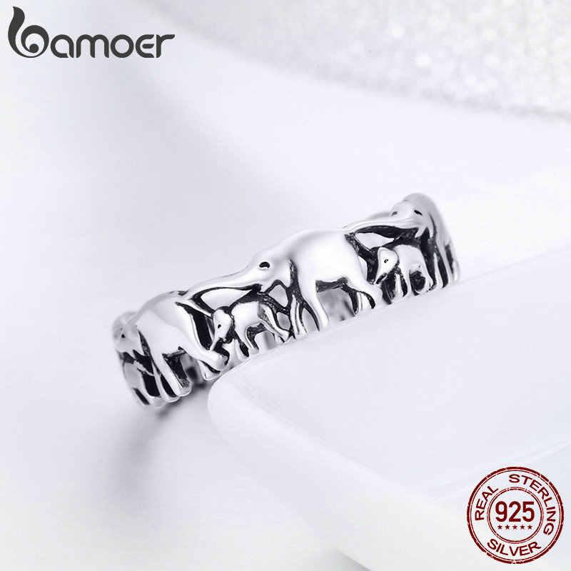 Bamoer na moda 100% 925 prata esterlina empilhável animal coleção elefante família anéis de dedo para mulher prata jóias scr344