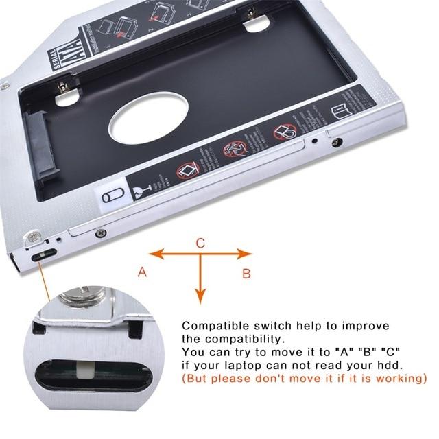 Aluminium Optibay 9.5mm SATA 3.0 2nd HDD Caddy SSD CD pudełko na płytę DVD obudowa Sledding na laptopa DVD-ROM wnęka na napęd optyczny box SuperDrive