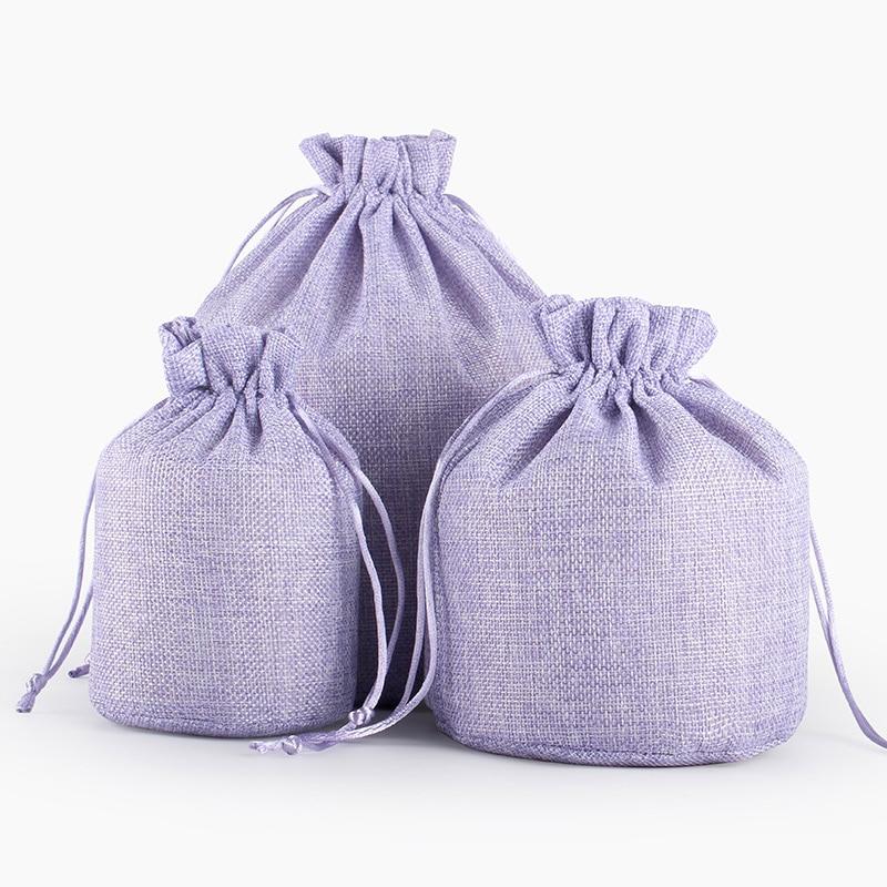 Купить с кэшбэком 50pcs High Class Linen Drawstring Pouch Jewelry Bag Custom Logo Jute Pouch Burlap Party Candy Gift Round Bottom Packaging Bag