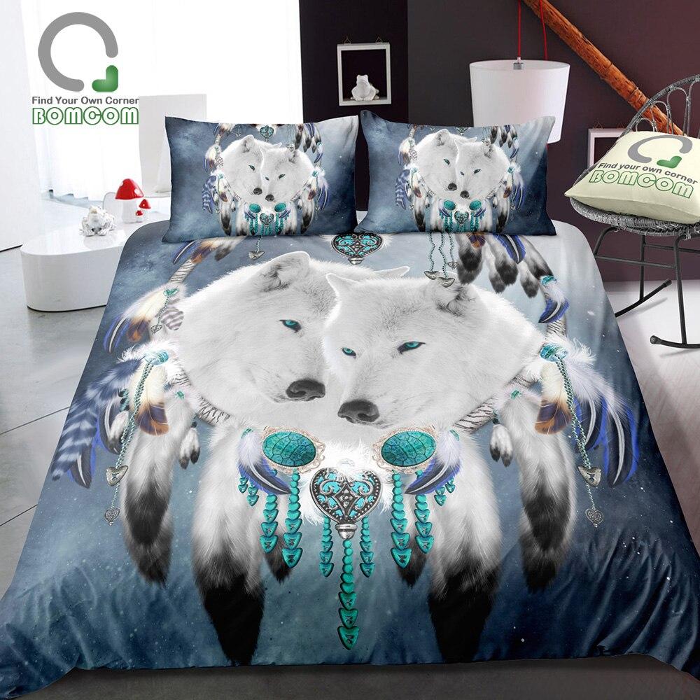 BOMCOM 3D Digital Printing Boho Bohemia Dream Catcher White Wolf Starry Sky Dream Catcher Bedding Cover