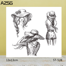 AZSG Pretty Hatted Girl Clear Stamps/Seals For DIY Scrapbooking/Card Making/Album Decorative Silicone Stamp Crafts