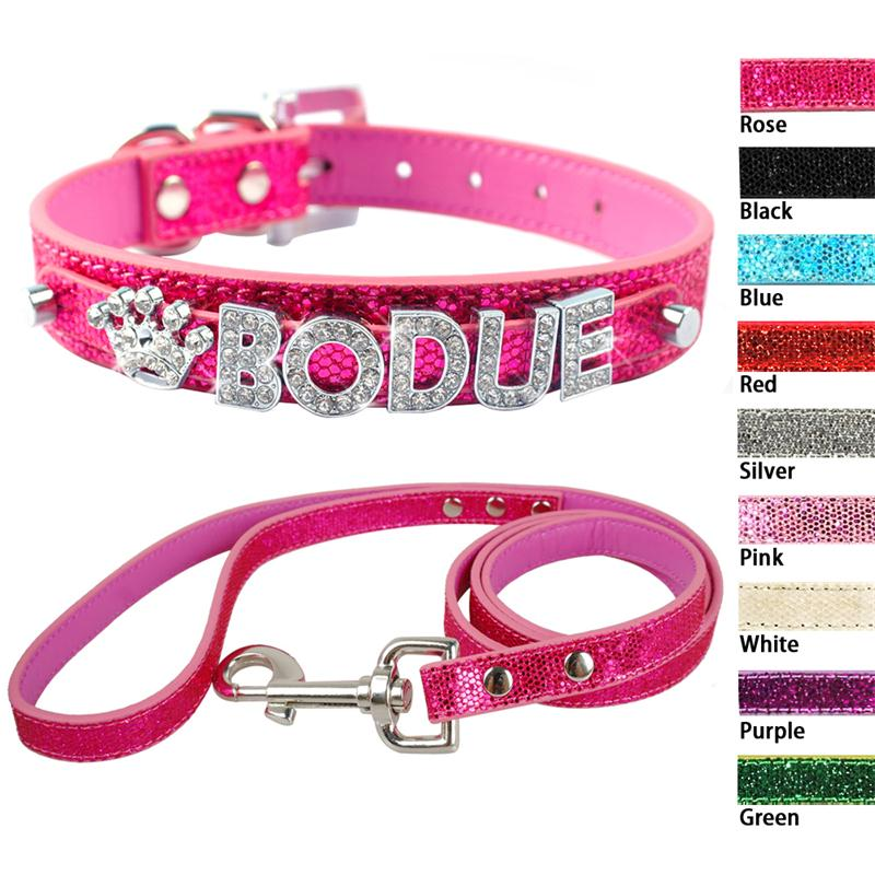 Personalized Small Puppy Dog Collar and Leash Set Free Customized Bling Name Letters For ...