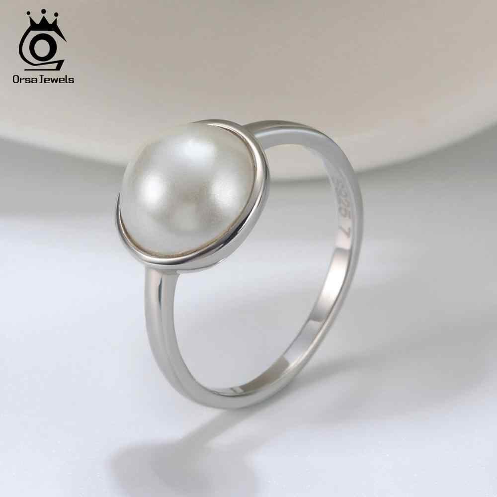 ORSA JEWELS Luxury 925 เงินสเตอร์ลิงธรรมชาติหิน Solitaire แหวนแหวนแฟชั่นผู้หญิงเครื่องประดับ Fine ASR69