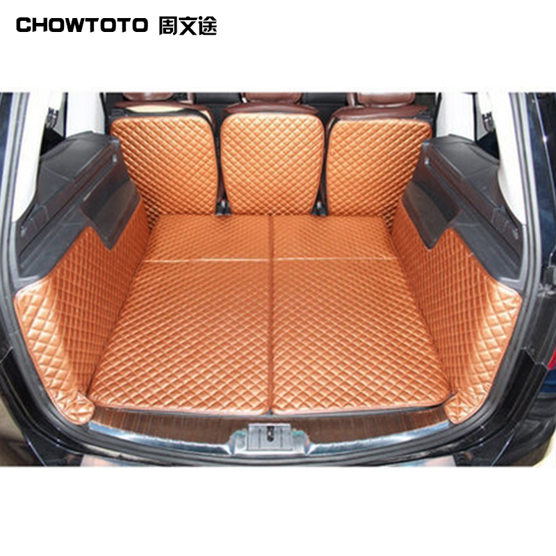 CHOWTOTO AA Special Luggage Mats For Seat Alhambra 7seats Waterproof Leather Carpets For ALHAMBRA 7 Seats Trunk Mat