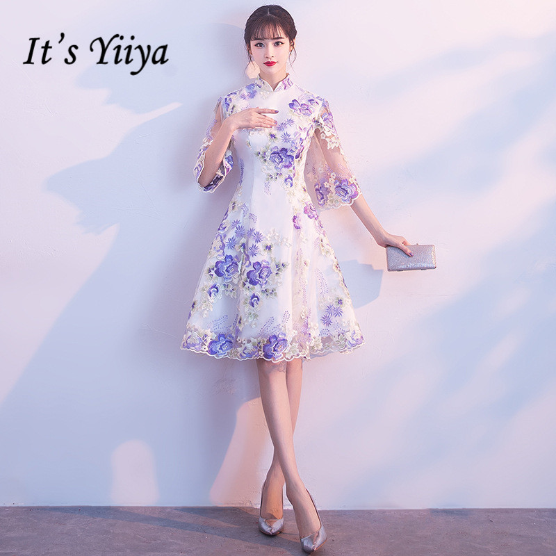 Us 3962 40 Offits Yiiya Luxury Purple High Collar Half Sleeve Floral Print Lace Cocktail Dresses Knee Length Formal Dress Party Gown Mx044 In