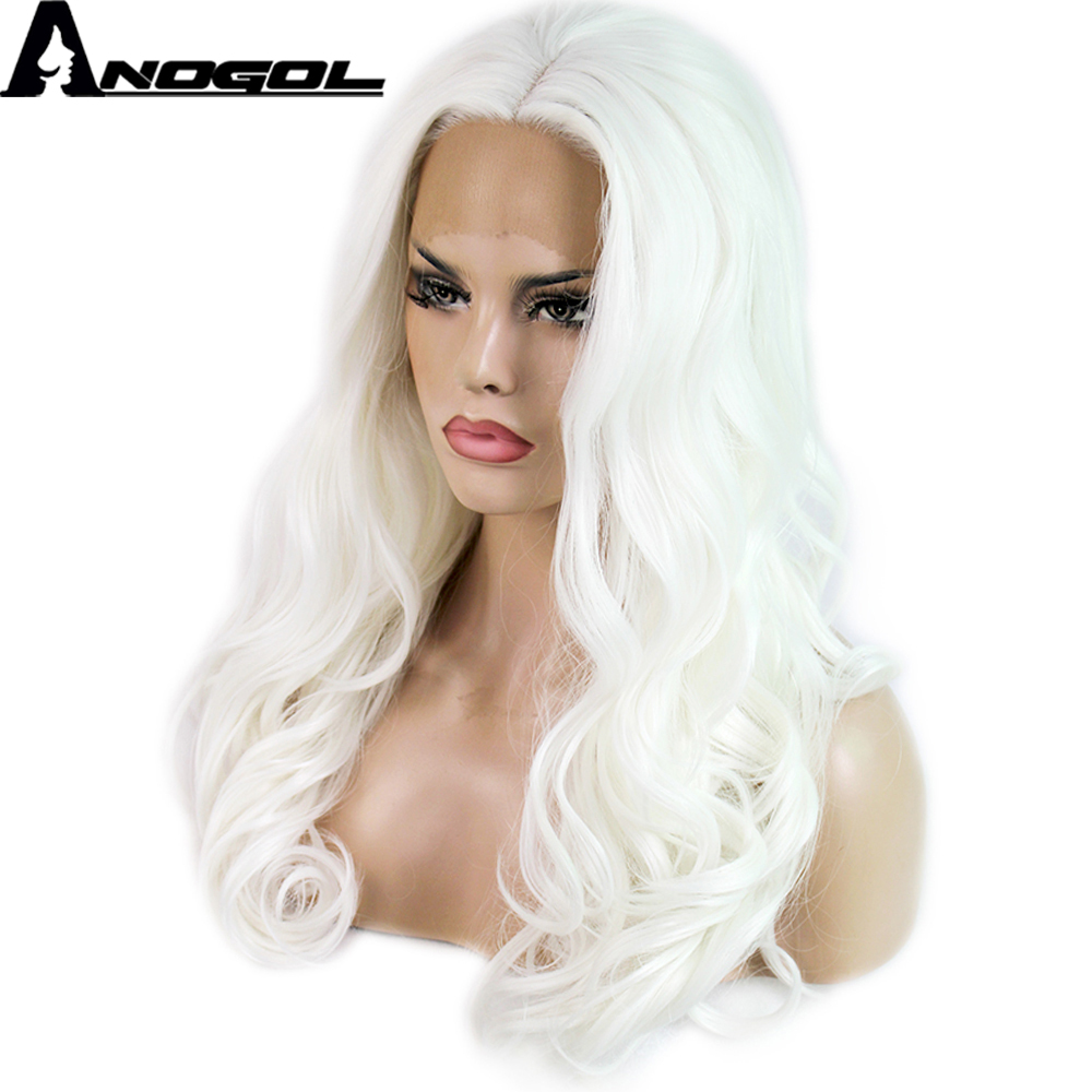 Anogol High Temperature Fiber Perruque Full Lace Wigs Deep Long Body Wave White Synthetic Lace Front Wig For Cosplay Women