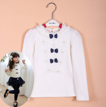 Clearance Autumn Kids Children Shirts Solid Cotton Long Sleeve Bow Girl Shirts Kids Clothes Girl Blouse 100-140 CM KT1622