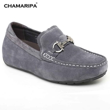 CHAMARIPA Increase Height 5.5cm/2.17 inch Men Elevator Shoe Suede Leather Casual Driving Elevator Shoes Taller