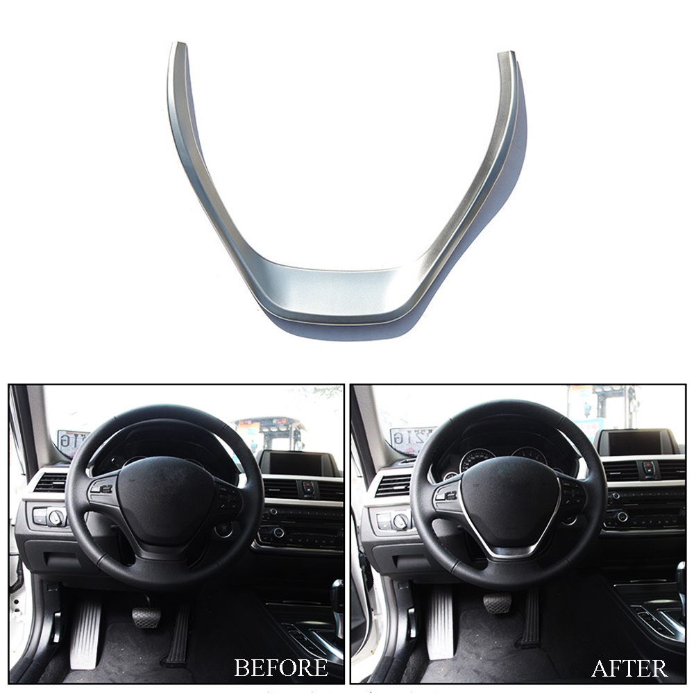 JEAZEA ABS Chromed Steering Wheel Cover Trim For <font><b>BMW</b></font> 3 Series F30 316i 318d 320d For <font><b>BMW</b></font> 1 Series F20 114i <font><b>116i</b></font> 118i 2013 image