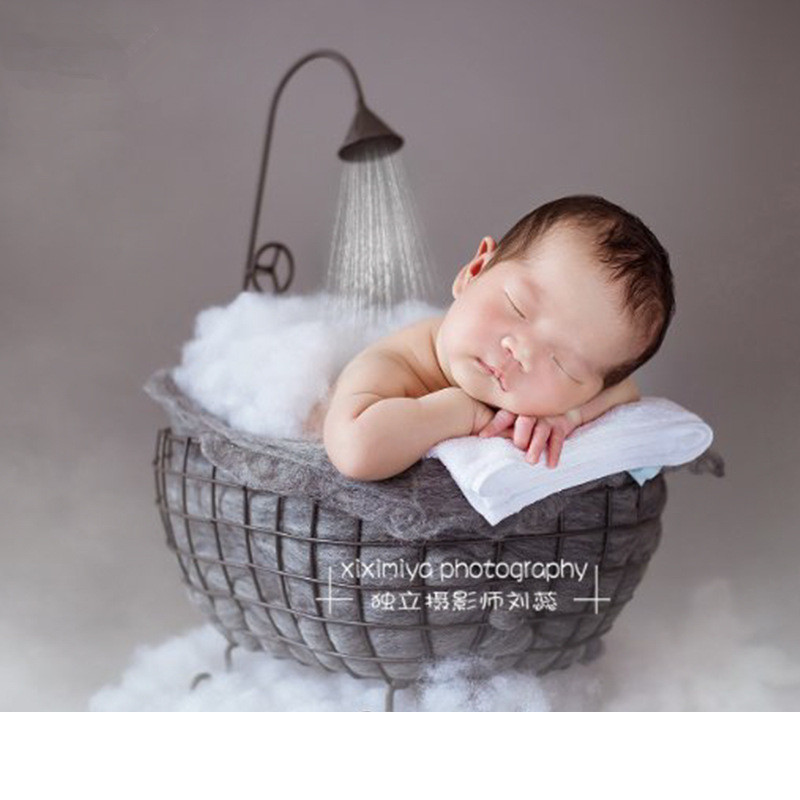 New Newborn Flokati Posing Baby Photography Props Photo Shoot Accessories Iron Basket For Studio Bathtub Props Baby Posing Sofa in Hats Caps from Mother Kids