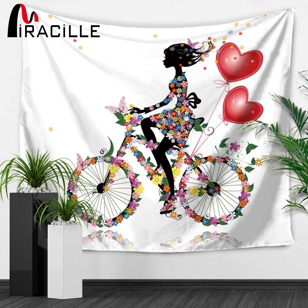 Miracille Tapisserie Schmetterling Blumen Cartoon Mädchen Startseite  Wandbehang Teppiche Schlafzimmer Bettdecke Blatt Dekorative Tischdecken