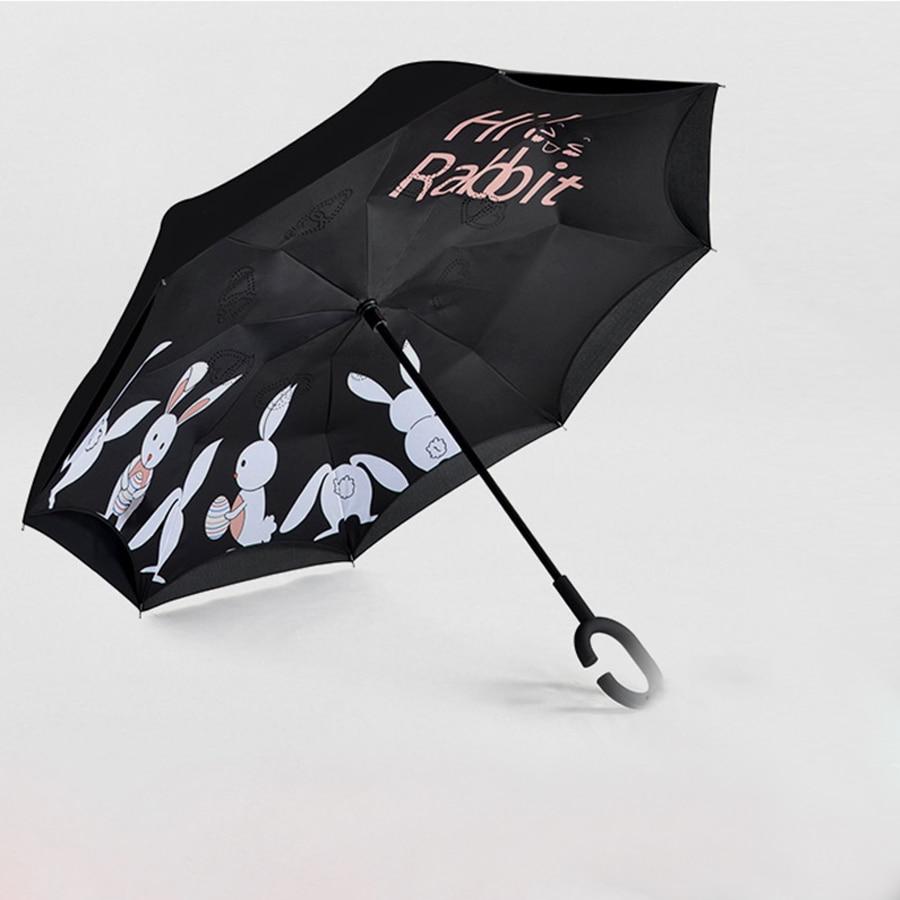 Outdoor Patio Umbrella Inverted Folding Women Color Umbrellas Wind Resistant UV Umbrella Sonnenschirm Handmade Par asol 70D0253