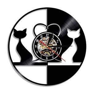 1 шт., винтажные дизайнерские настенные часы с подсветкой в виде влюбленных кошек, виниловые часы с изображением животных, светодиодный свет...