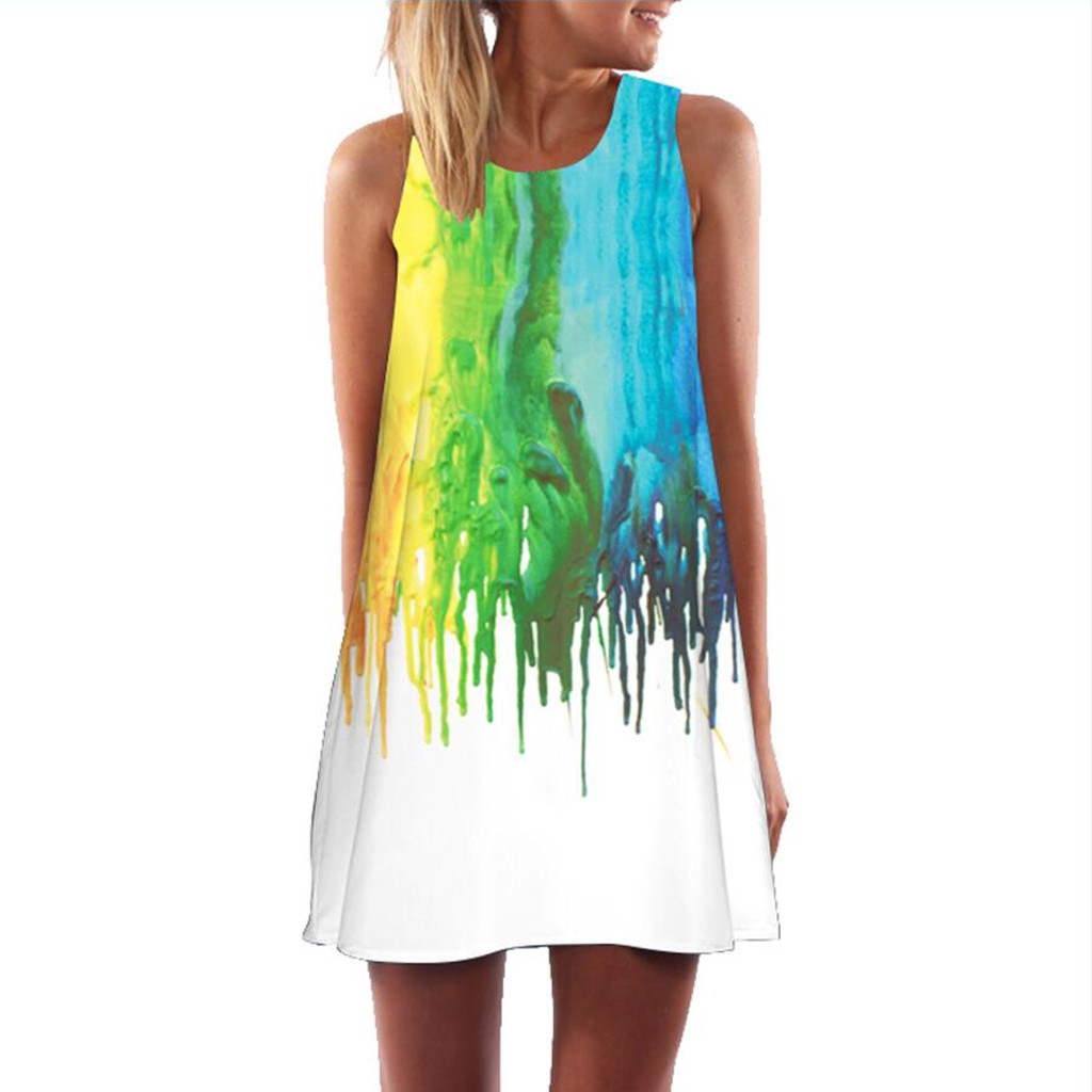 CHAMSGEND Dress Women Dresses Summer Vintage Colorful Printed Bohe Short Mini Dress Sleeveless robe femme Beach vestidos 32FEB23