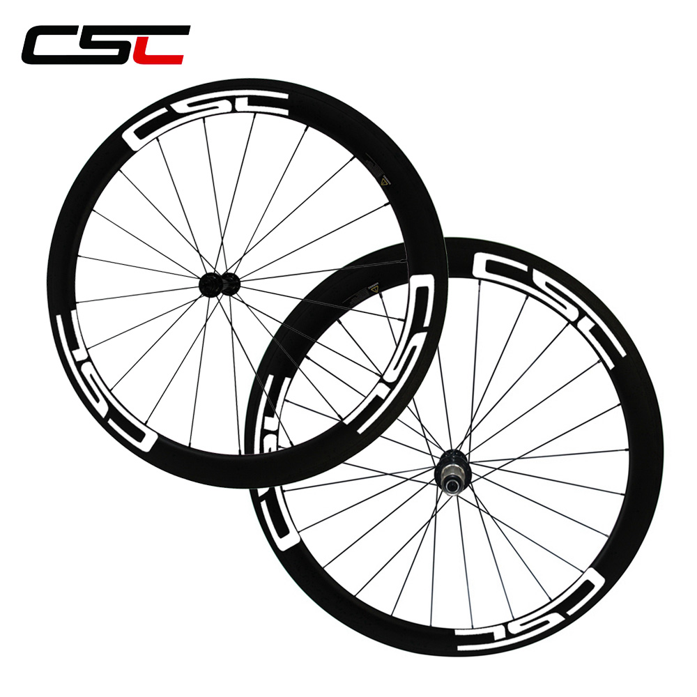 CSC 1500g 700C full carbon 50mm 23mm clincher bike wheels with Powerway R13 hub Basalt brake
