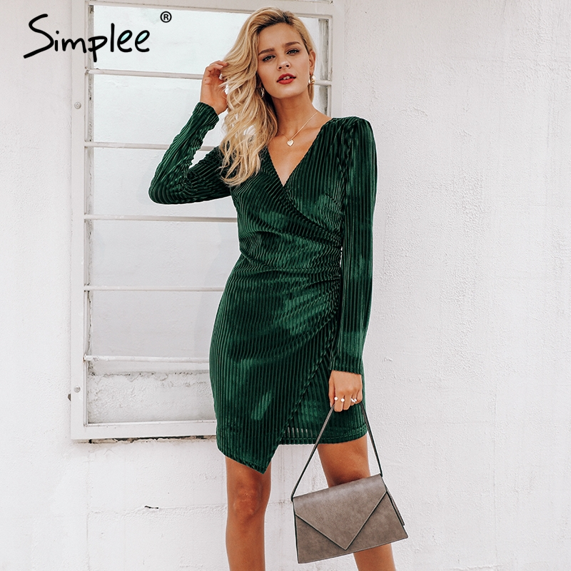 ba43ce95519a Mouse over to zoom in. Simplee Elegant 2019 women dress Vintage wrap velvet  formal dress Sexy long sleeve bodycon female vestidos ...