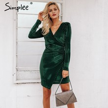 Simplee Elegant 2019 women dress Vintage wrap velvet formal dress Sexy long  sleeve bodycon female vestidos