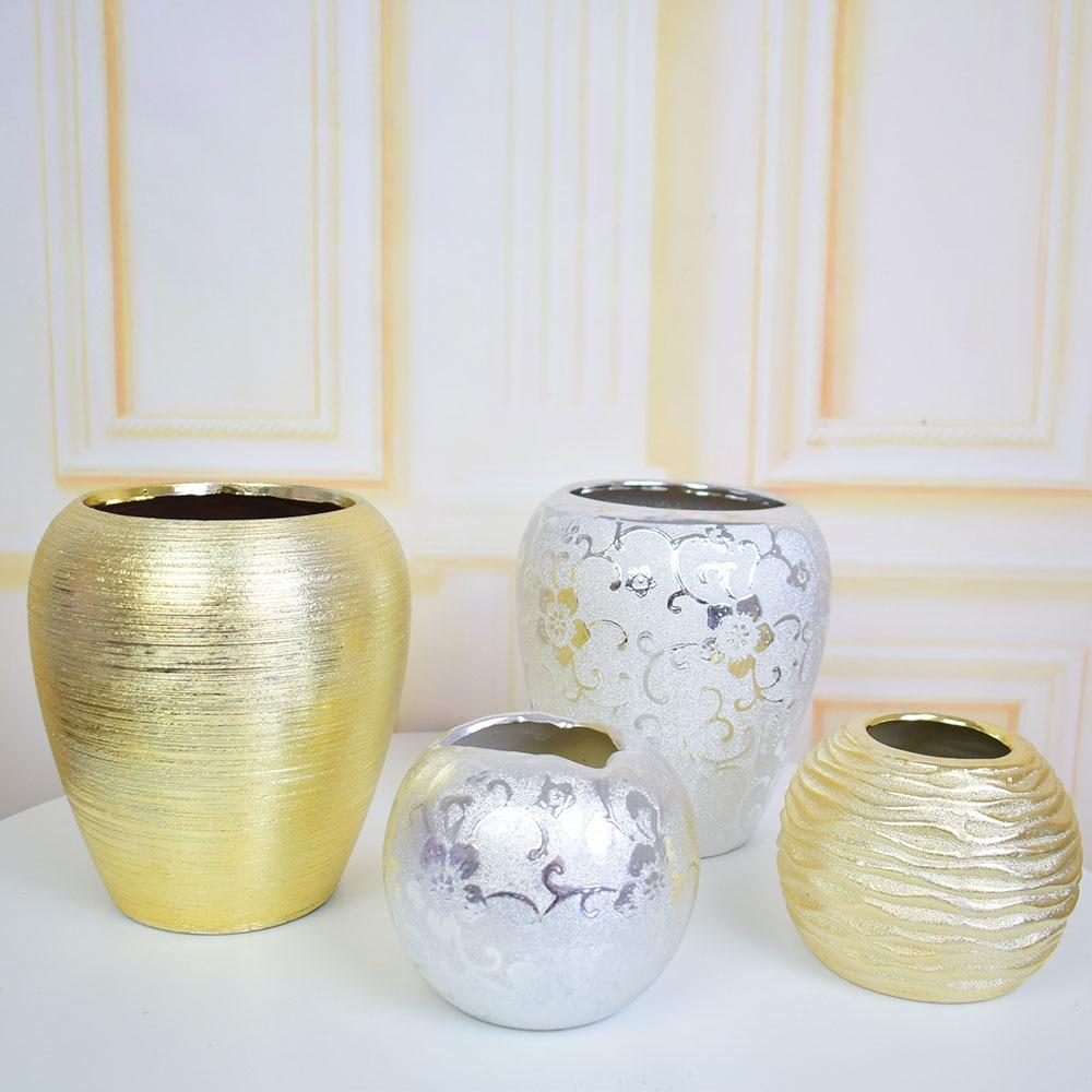 Centre De Table Design mordern ceramic silver golden flower vase for home wedding party christmas  shop mariage centre de table decoration flower pot