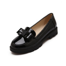 Sweet Bow Patent Women Slip-on Casual Flat Oxford Shoes Fashion Girls Casual Flat Shoes Round Toe Loafers Shoes Women Size 34-42
