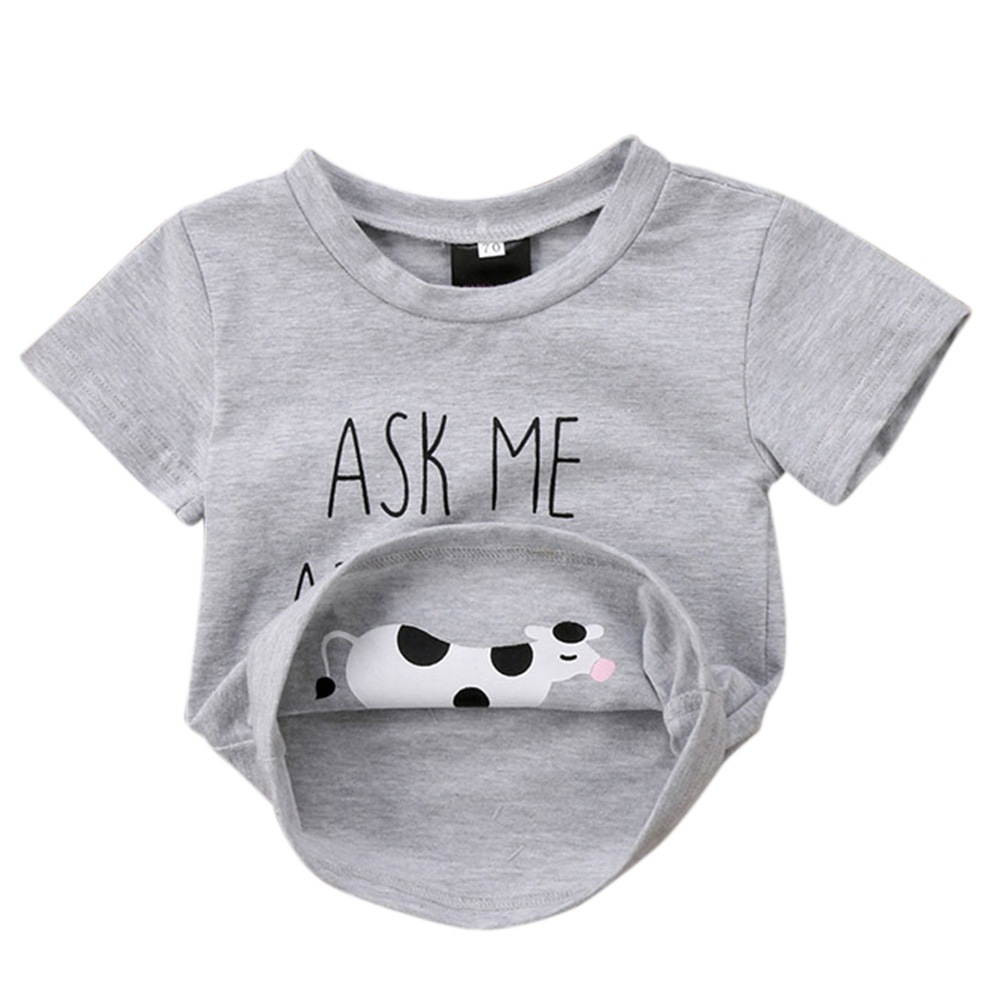 Newborn Boys T shirt Funny Children Clothing Ask me about My Moo Cow Letter Kids Tops Short Sleeves T-shirts Baby Clothes tshirt