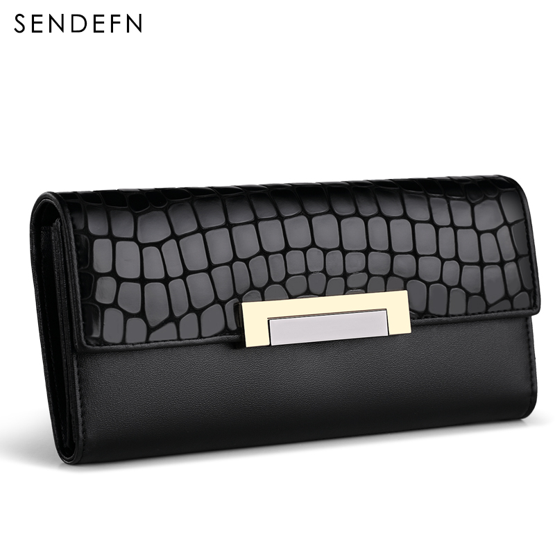 Sendefn Quality Women Wallet Cowhide Split Leather Lady Long Purse Female Phone Pocket Coin Card Holder Wallets simple organizer wallet women long design thin purse female coin keeper card holder phone pocket money bag bolsas portefeuille