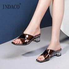 Summer Sandals Slip-on Fashion Slides Square Heel Transparent Shoes Women