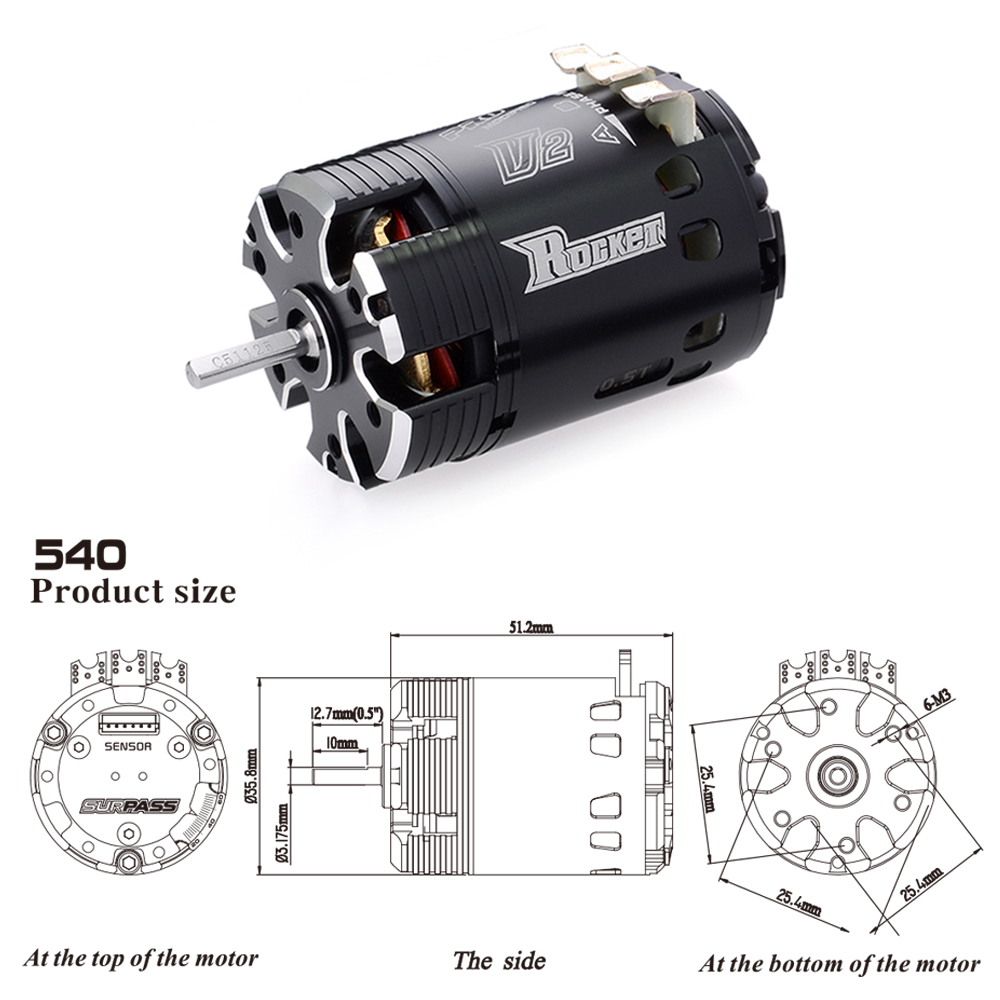 Image 5 - SURPASSHOBBY Rocket 540 V2 10.5T 13.5T 17.5T 21.5T Sensored Brushless Motor for Spec Stock Competition 1/10 1/12 F1 RC Car-in Parts & Accessories from Toys & Hobbies