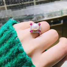 ZHBORUINI 2019 Fine Pearl Ring Jewelry Of Silver Red Zircon Square Natural Freshwater Pearl Rings 925 Sterling Silver For Women цена